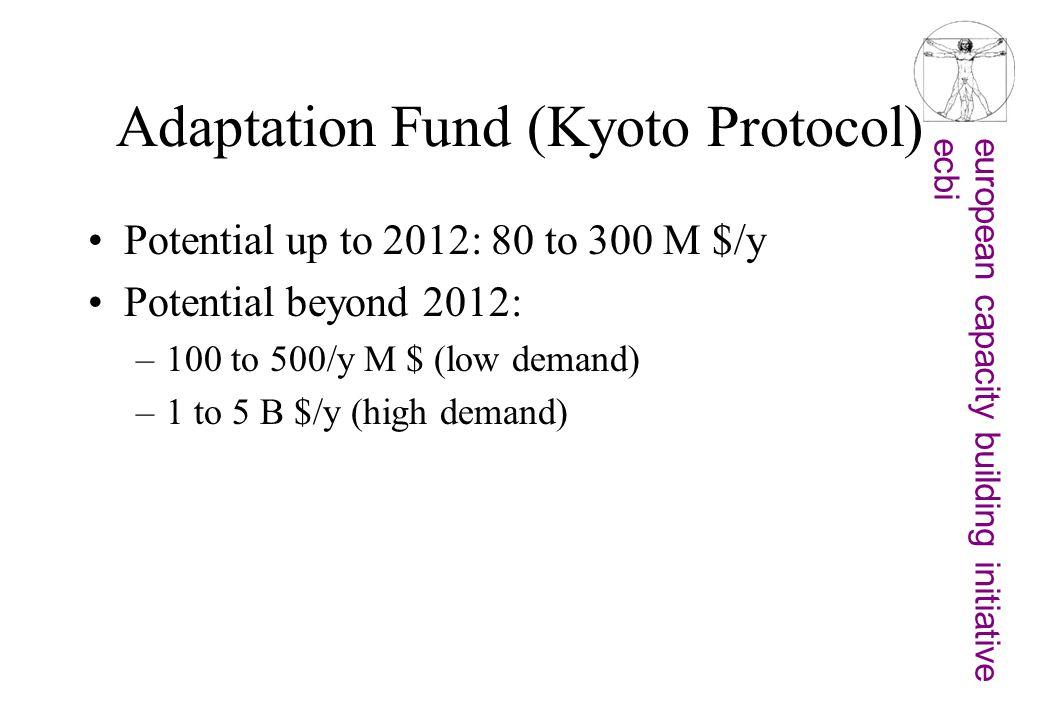 european capacity building initiativeecbi Adaptation Fund (Kyoto Protocol) Potential up to 2012: 80 to 300 M $/y Potential beyond 2012: –100 to 500/y M $ (low demand) –1 to 5 B $/y (high demand)