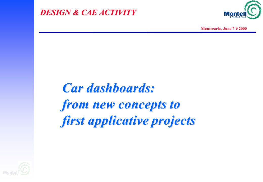 DESIGN & CAE ACTIVITY Montecarlo, June 7-9 2000 CAE: A KEY FACTOR FOR Internal: new material/application development External: penetration into the ma