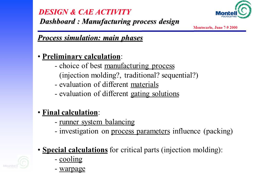 DESIGN & CAE ACTIVITY Montecarlo, June 7-9 2000 Dashboard Component: Manufacturing process design Dashboard Component: Manufacturing process design