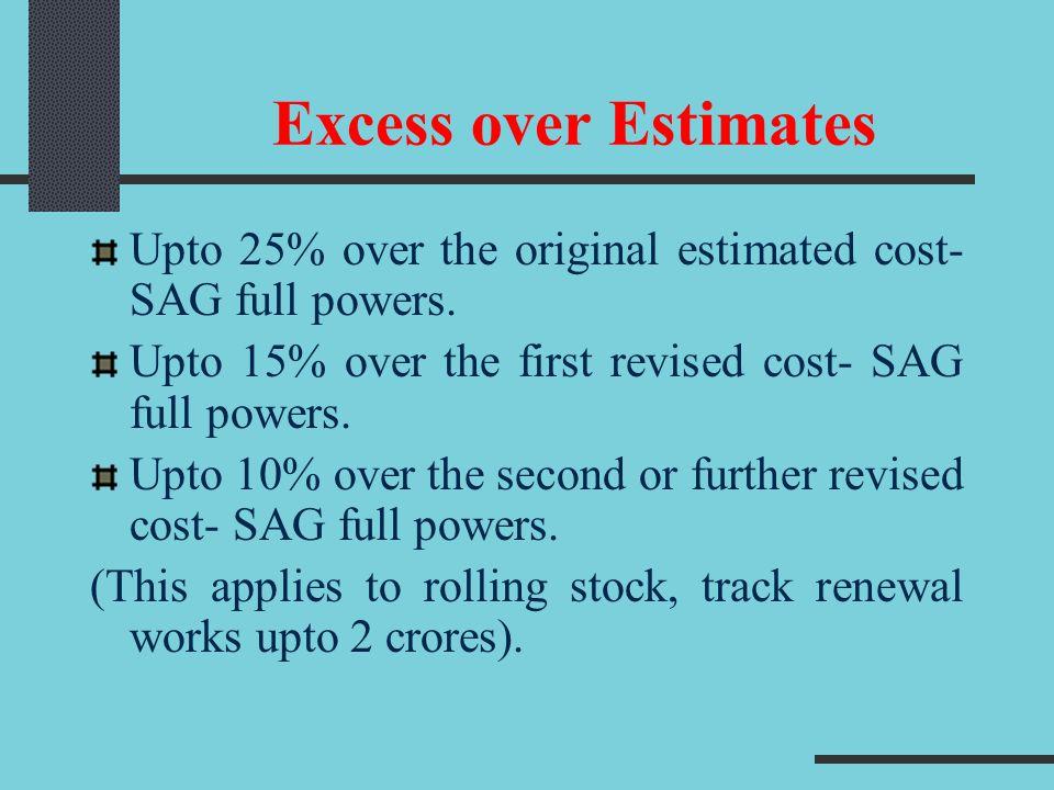 Excess over Estimates Upto 25% over the original estimated cost- SAG full powers. Upto 15% over the first revised cost- SAG full powers. Upto 10% over