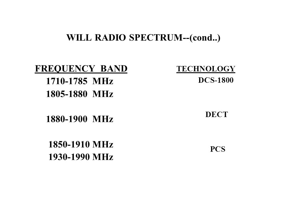 WILL RADIO SPECTRUM--(cond..) FREQUENCY BAND 1710-1785 MHz 1805-1880 MHz 1880-1900 MHz 1850-1910 MHz 1930-1990 MHz TECHNOLOGY DCS-1800 DECT PCS