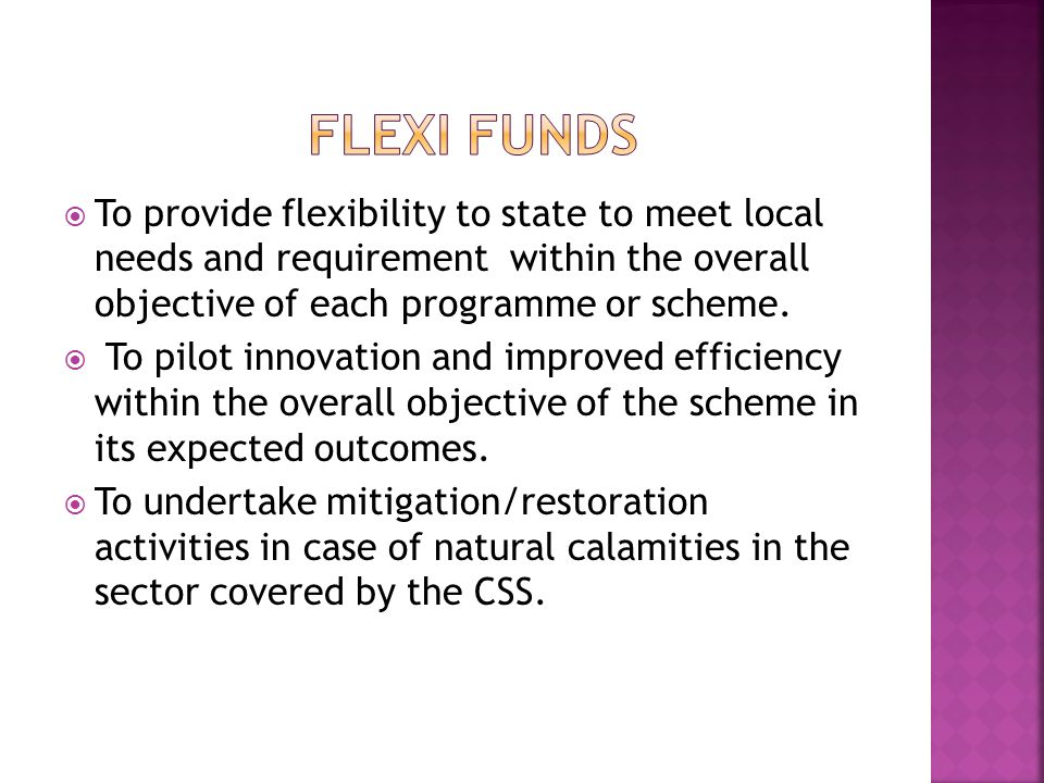  To provide flexibility to state to meet local needs and requirement within the overall objective of each programme or scheme.  To pilot innovation