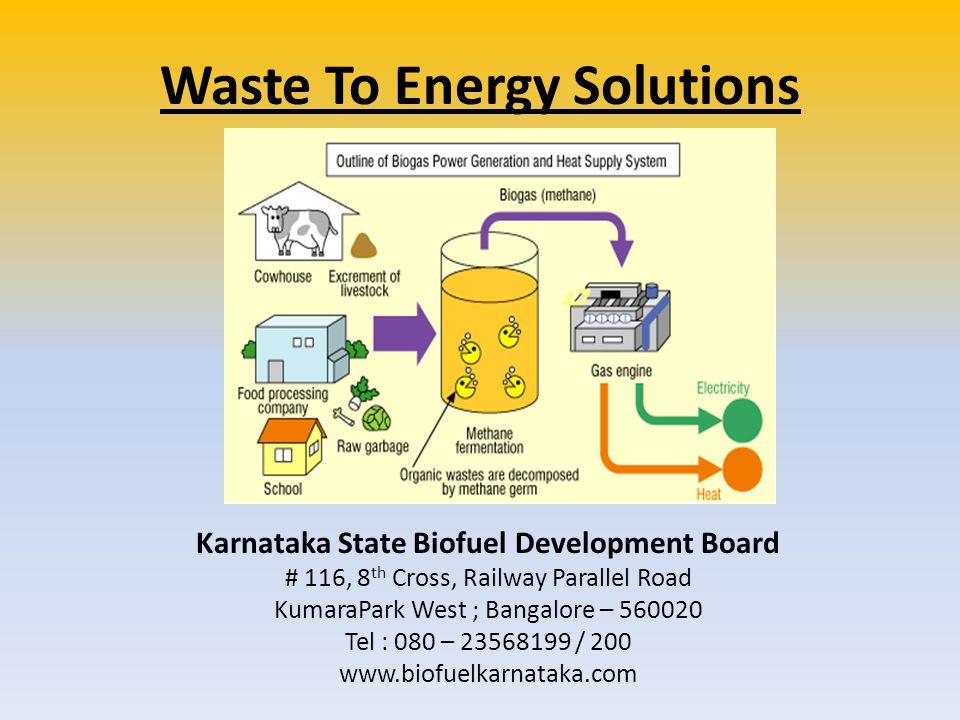 Waste To Energy Solutions Karnataka State Biofuel Development Board # 116, 8 th Cross, Railway Parallel Road KumaraPark West ; Bangalore – 560020 Tel