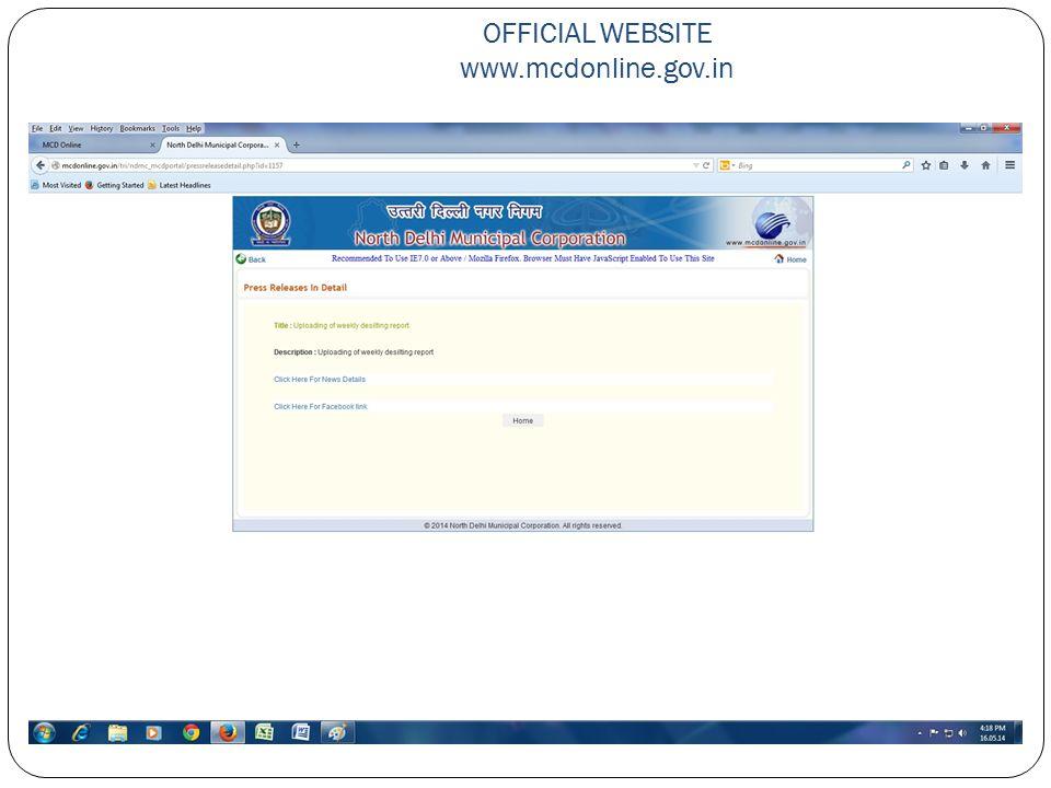 OFFICIAL WEBSITE www.mcdonline.gov.in
