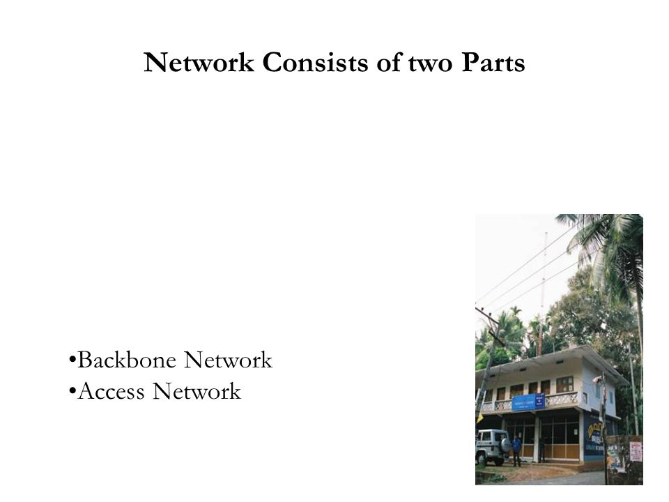 Network Consists of two Parts Backbone Network Access Network