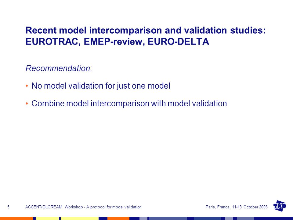 Paris, France, 11-13 October 2006ACCENT/GLOREAM Workshop - A protocol for model validation5 Recent model intercomparison and validation studies: EUROTRAC, EMEP-review, EURO-DELTA Recommendation: No model validation for just one model Combine model intercomparison with model validation