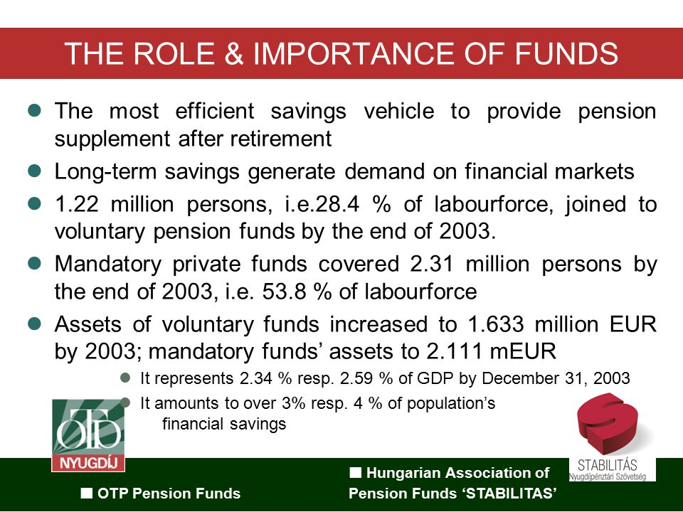 Hungarian Association of OTP Pension Funds Pension Funds 'STABILITAS' MPPF: GROWTH IN MEMBERSHIP