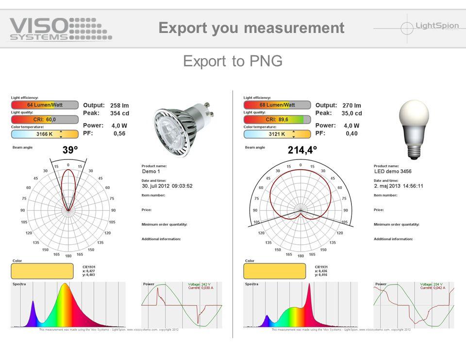 Export to PNG Export you measurement