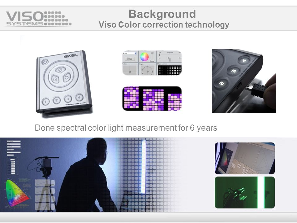 Done spectral color light measurement for 6 years Viso Color correction technology Background