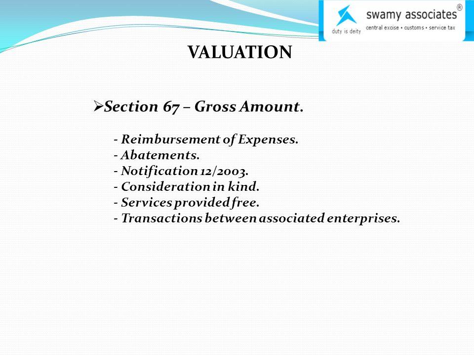 VALUATION  Section 67 – Gross Amount. - Reimbursement of Expenses.