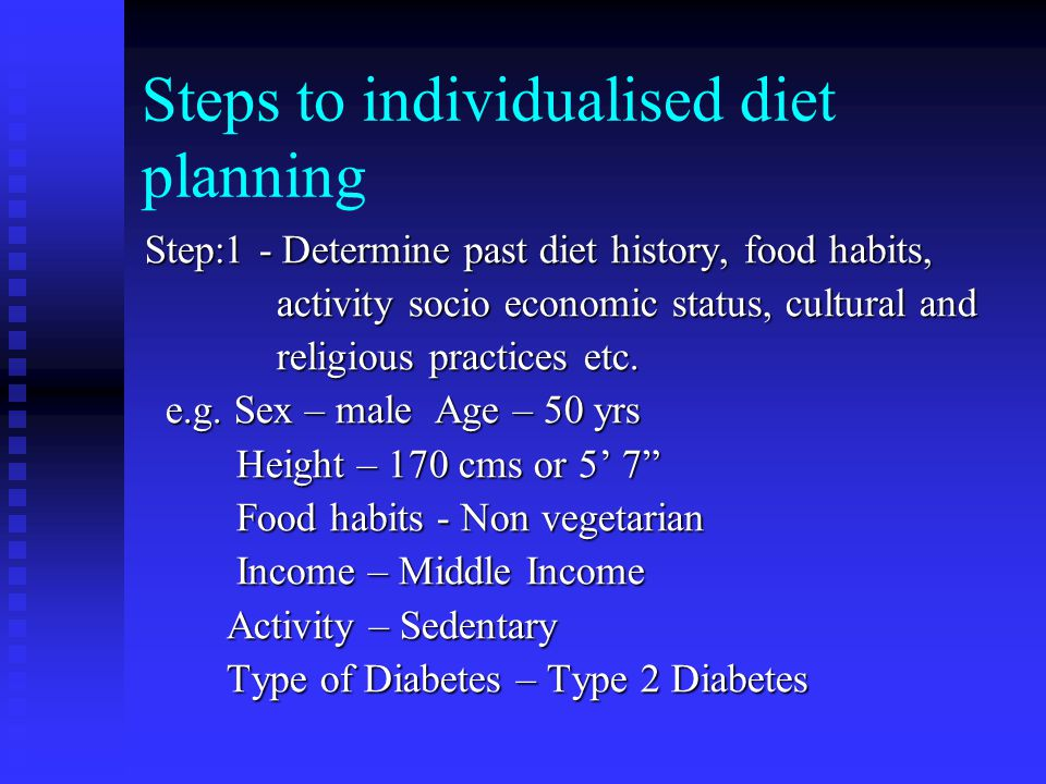 Steps to individualised diet planning Step:1 - Determine past diet history, food habits, activity socio economic status, cultural and activity socio economic status, cultural and religious practices etc.