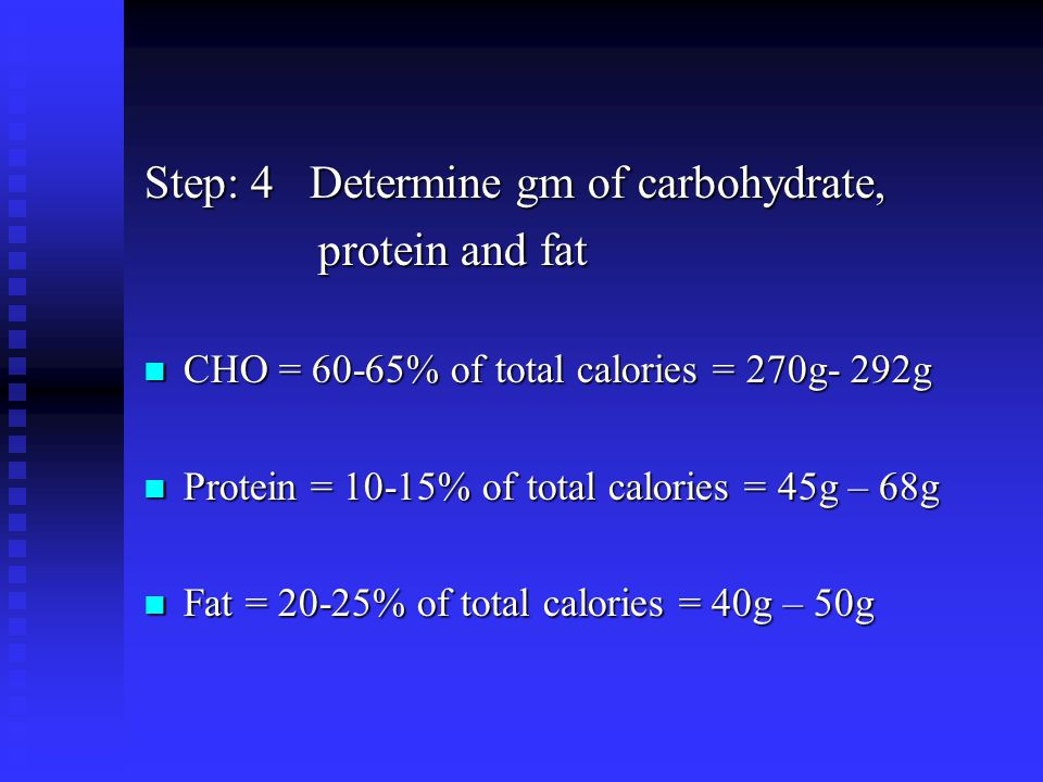 Step: 4 Determine gm of carbohydrate, protein and fat protein and fat CHO = 60-65% of total calories = 270g- 292g CHO = 60-65% of total calories = 270g- 292g Protein = 10-15% of total calories = 45g – 68g Protein = 10-15% of total calories = 45g – 68g Fat = 20-25% of total calories = 40g – 50g Fat = 20-25% of total calories = 40g – 50g