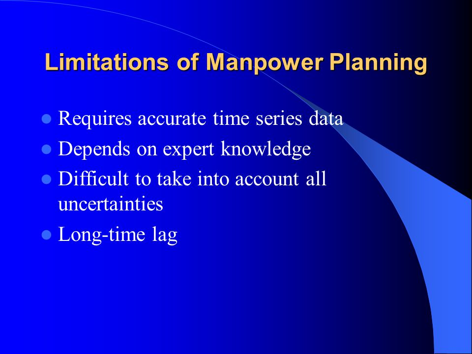 Limitations of Manpower Planning Requires accurate time series data Depends on expert knowledge Difficult to take into account all uncertainties Long-time lag