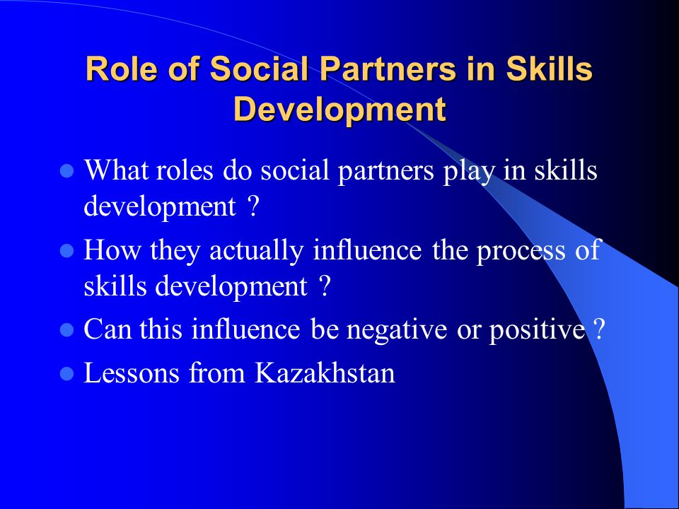 Role of Social Partners in Skills Development What roles do social partners play in skills development .
