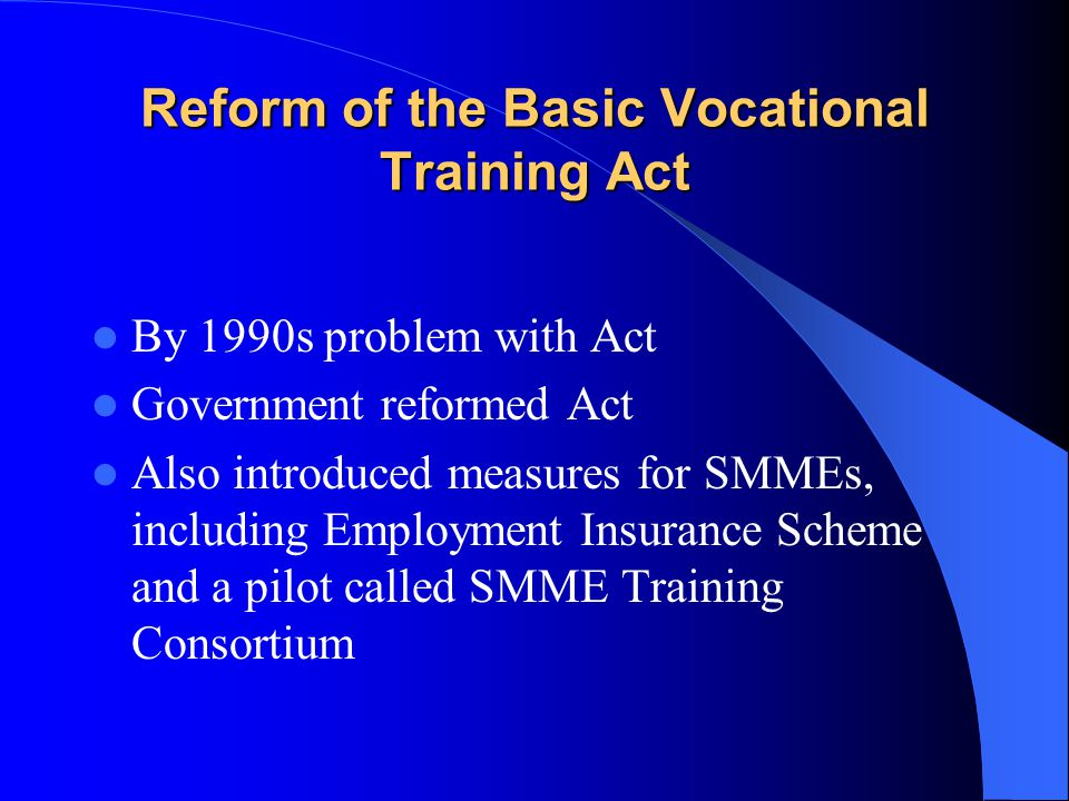 Reform of the Basic Vocational Training Act By 1990s problem with Act Government reformed Act Also introduced measures for SMMEs, including Employment Insurance Scheme and a pilot called SMME Training Consortium