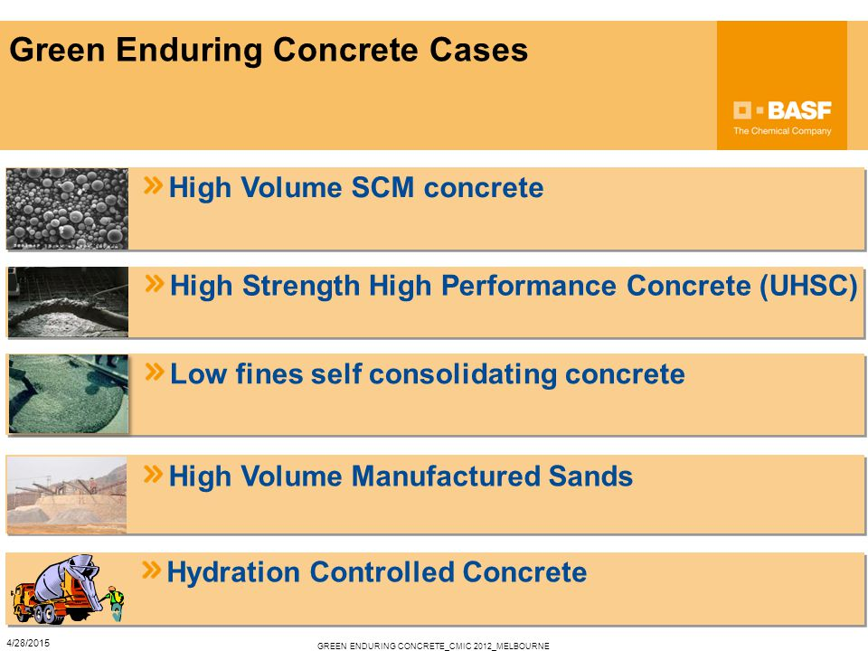 Green Enduring Concrete Cases High Volume SCM concrete High Strength High Performance Concrete (UHSC) Low fines self consolidating concrete High Volume Manufactured Sands Hydration Controlled Concrete GREEN ENDURING CONCRETE_CMIC 2012_MELBOURNE 4/28/2015