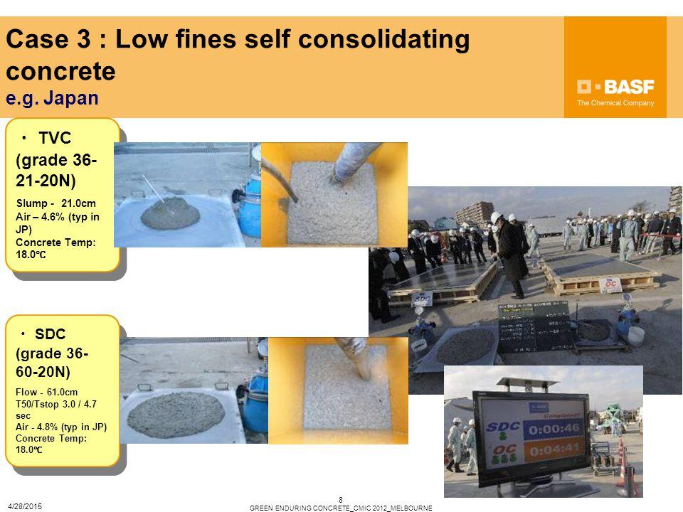 8 Case 3 : Low fines self consolidating concrete e.g. Japan ・ TVC (grade 36- 21-20N) Slump - 21.0cm Air – 4.6% (typ in JP) Concrete Temp: 18.0 ℃ ・ TVC