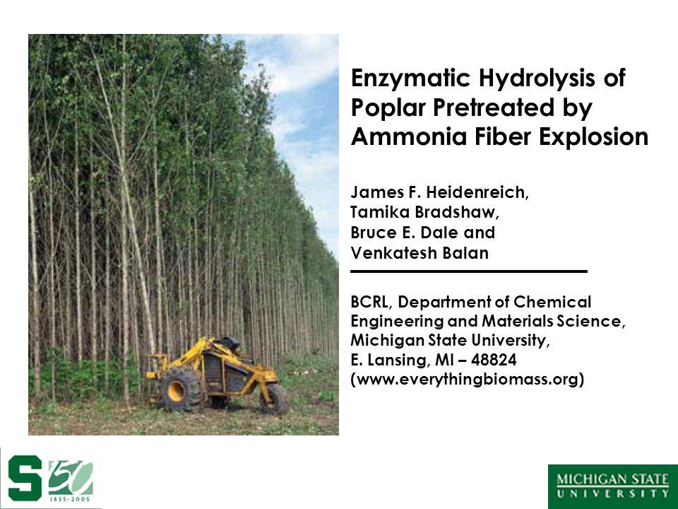 Enzymatic Hydrolysis of Poplar Pretreated by Ammonia Fiber Explosion James F.
