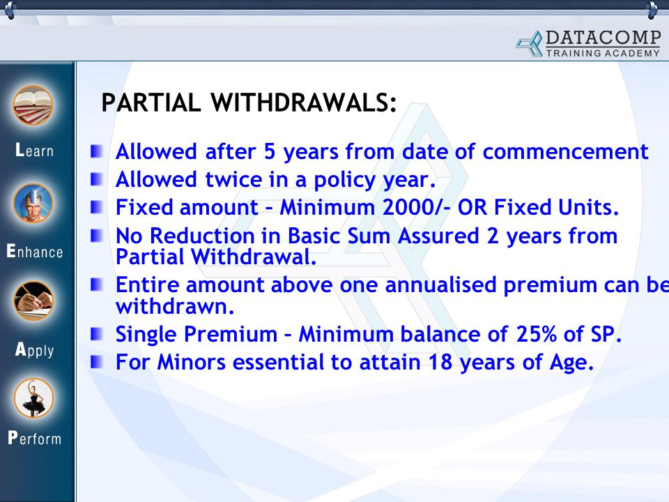 PARTIAL WITHDRAWALS: Allowed after 5 years from date of commencement Allowed twice in a policy year.