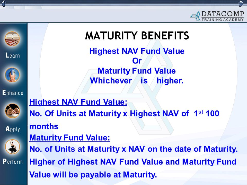 Highest NAV Fund Value Or Maturity Fund Value Whichever is higher.