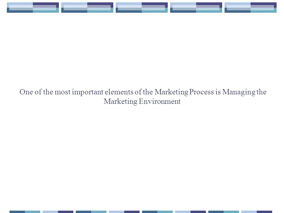 One of the most important elements of the Marketing Process is Managing the Marketing Environment