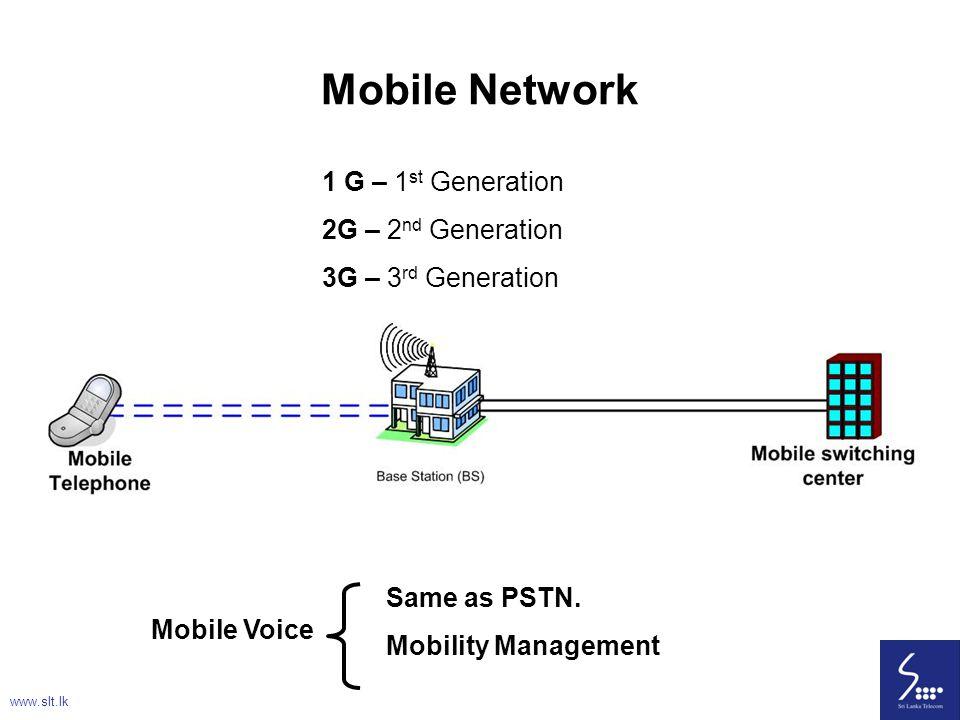 12 Mobile Network 1 G – 1 st Generation 2G – 2 nd Generation 3G – 3 rd Generation Mobile Voice Same as PSTN. Mobility Management www.slt.lk