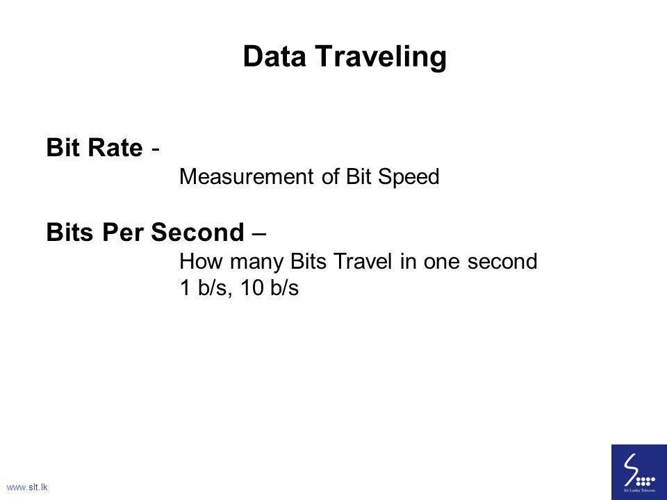 24 Bit Rate - Measurement of Bit Speed Bits Per Second – How many Bits Travel in one second 1 b/s, 10 b/s Data Traveling www.slt.lk