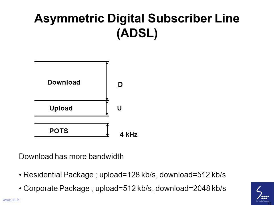 74 Asymmetric Digital Subscriber Line (ADSL) Download Upload POTS D U 4 kHz Download has more bandwidth Residential Package ; upload=128 kb/s, downloa