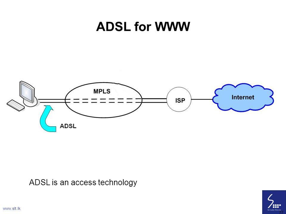 77 ADSL for WWW ADSL is an access technology www.slt.lk 77
