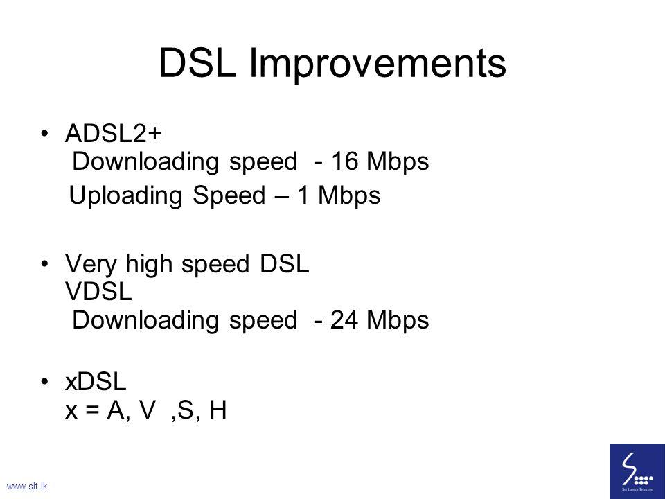 78 DSL Improvements ADSL2+ Downloading speed - 16 Mbps Uploading Speed – 1 Mbps Very high speed DSL VDSL Downloading speed - 24 Mbps xDSL x = A, V,S,