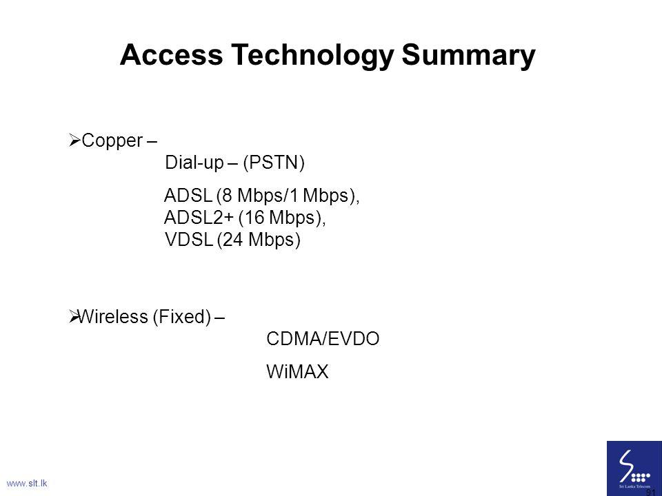 91 Access Technology Summary  Copper – Dial-up – (PSTN) ADSL (8 Mbps/1 Mbps), ADSL2+ (16 Mbps), VDSL (24 Mbps)  Wireless (Fixed) – CDMA/EVDO WiMAX w
