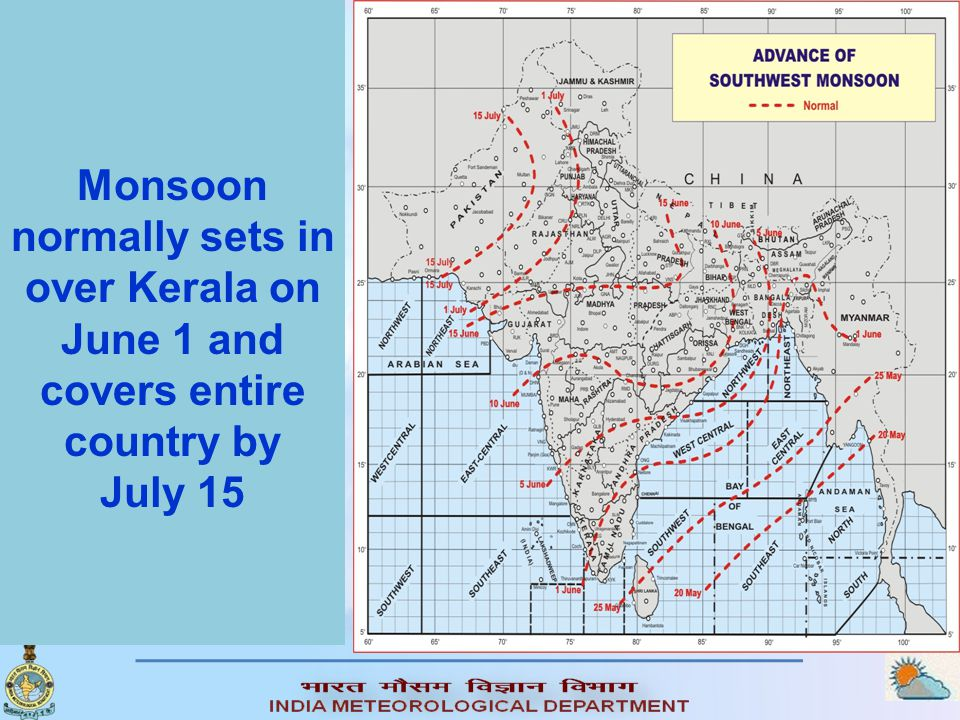 Monsoon normally sets in over Kerala on June 1 and covers entire country by July 15