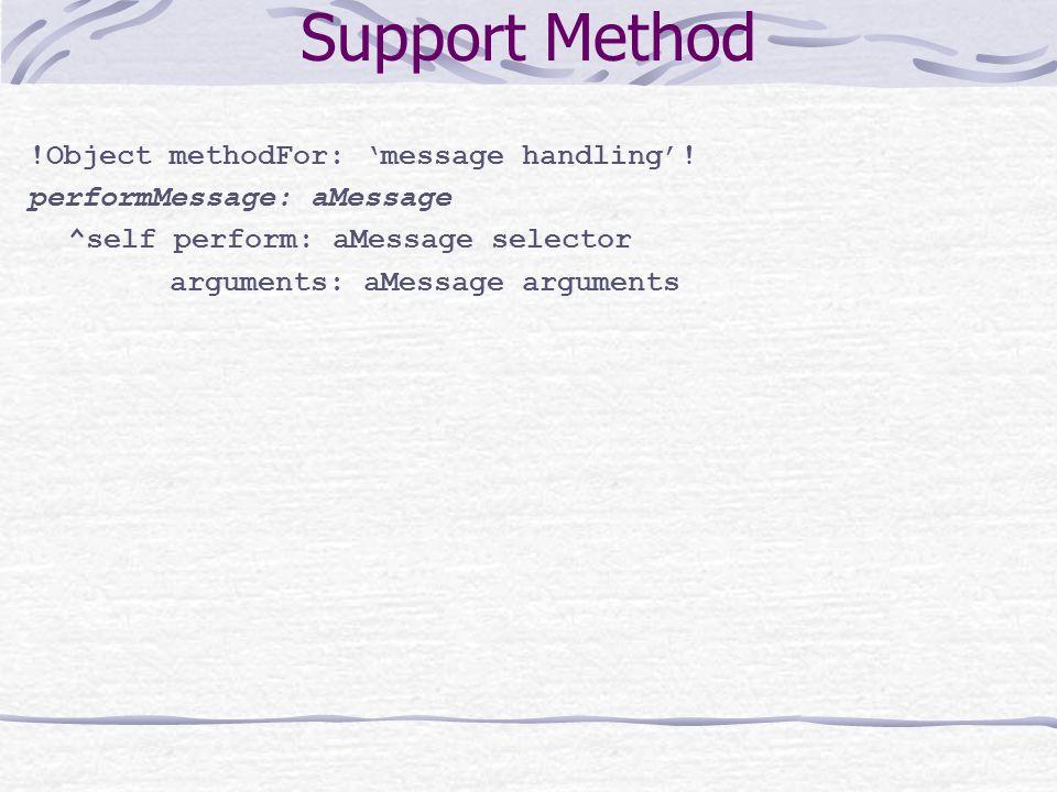 Support Method !Object methodFor: 'message handling'.