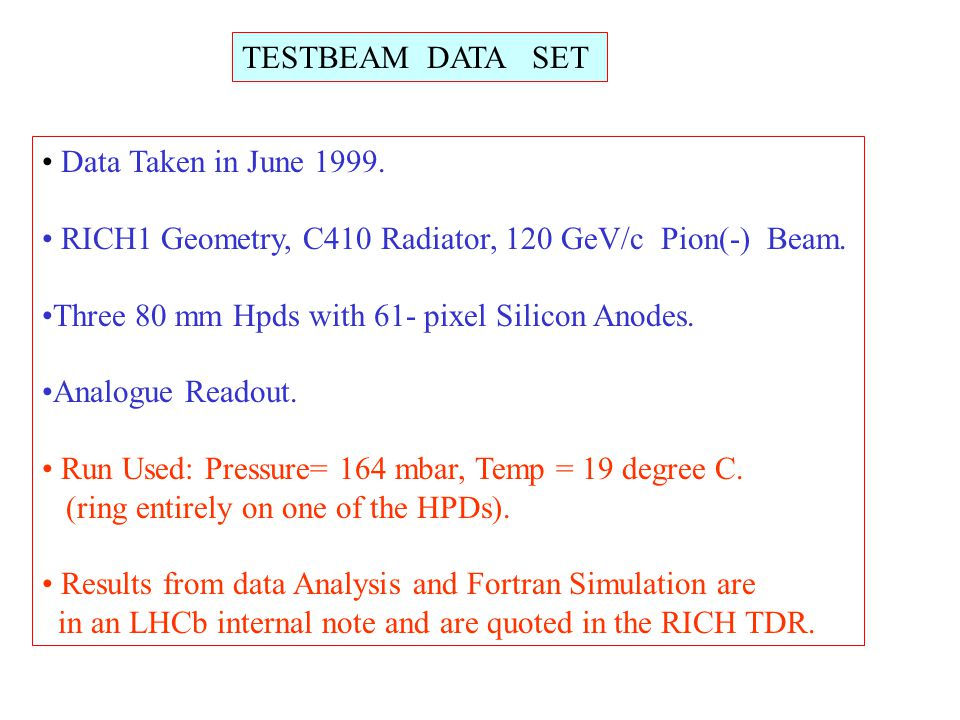 TESTBEAM DATA SET Data Taken in June 1999. RICH1 Geometry, C410 Radiator, 120 GeV/c Pion(-) Beam. Three 80 mm Hpds with 61- pixel Silicon Anodes. Anal