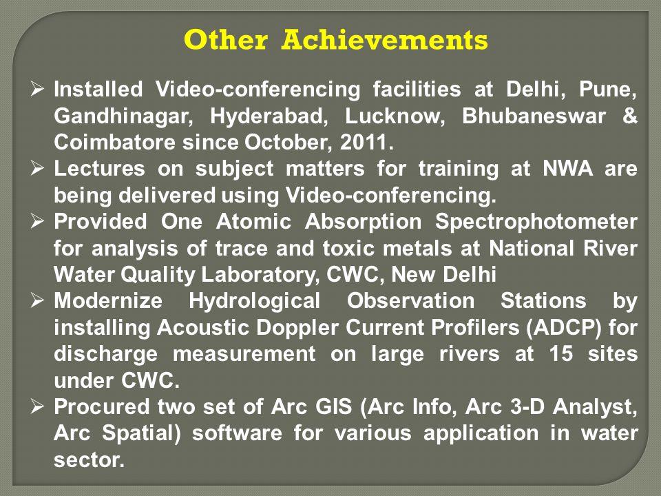  Installed Video-conferencing facilities at Delhi, Pune, Gandhinagar, Hyderabad, Lucknow, Bhubaneswar & Coimbatore since October, 2011.