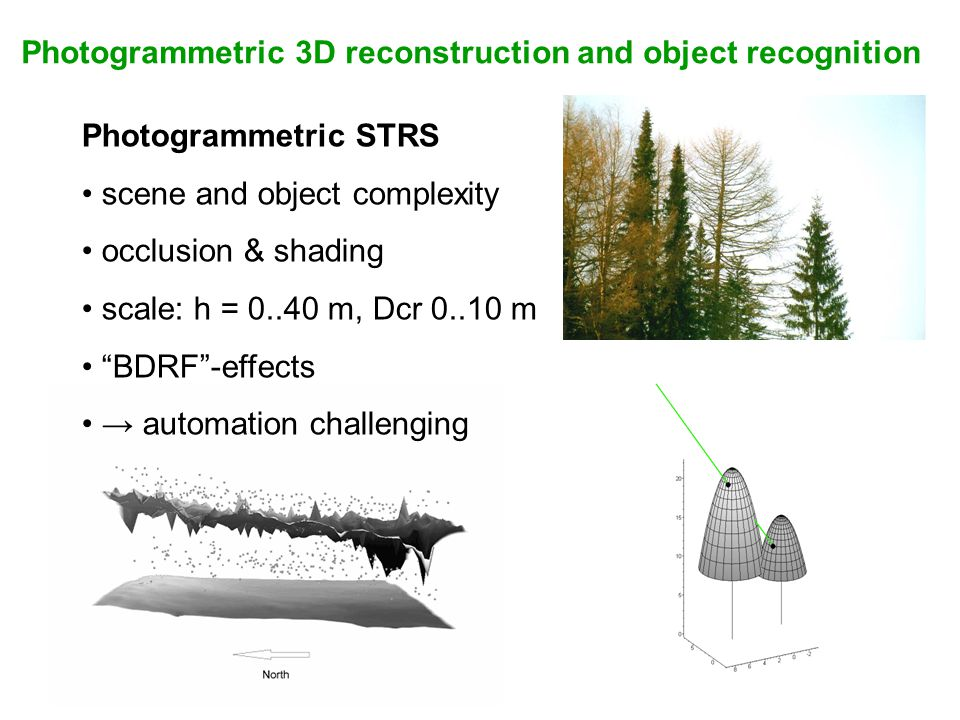 Photogrammetric 3D reconstruction and object recognition Photogrammetric STRS scene and object complexity occlusion & shading scale: h = 0..40 m, Dcr 0..10 m BDRF -effects → automation challenging