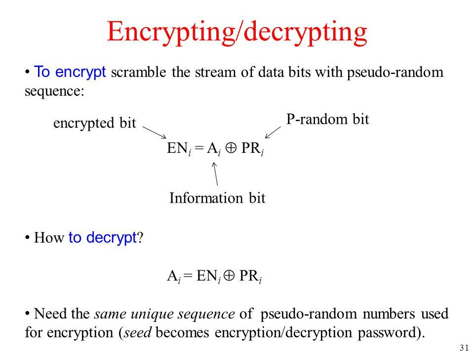 31 Encrypting/decrypting To encrypt scramble the stream of data bits with pseudo-random sequence: EN i = A i  PR i How to decrypt .