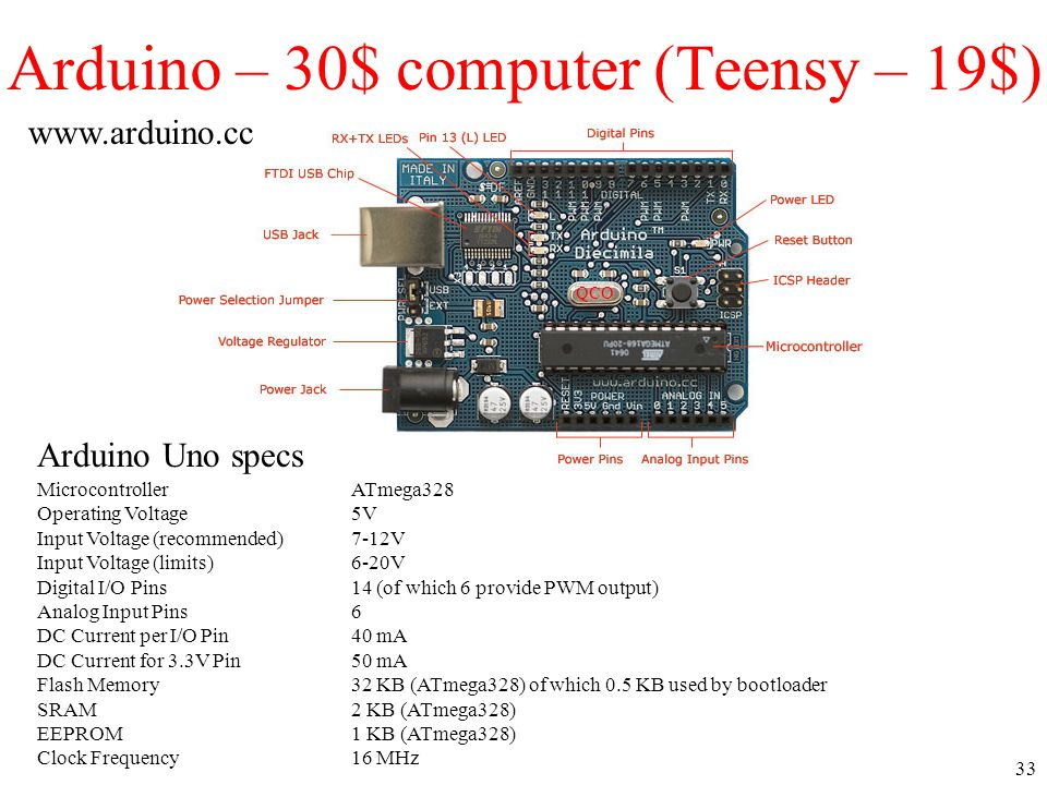 33 Arduino – 30$ computer (Teensy – 19$) QCO MicrocontrollerATmega328 Operating Voltage5V Input Voltage (recommended)7-12V Input Voltage (limits)6-20V Digital I/O Pins14 (of which 6 provide PWM output) Analog Input Pins6 DC Current per I/O Pin40 mA DC Current for 3.3V Pin50 mA Flash Memory32 KB (ATmega328) of which 0.5 KB used by bootloader SRAM2 KB (ATmega328) EEPROM1 KB (ATmega328) Clock Frequency16 MHz Arduino Uno specs www.arduino.cc