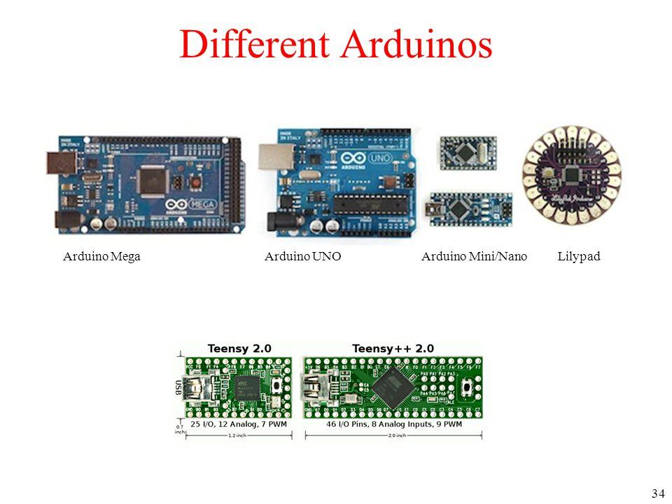 34 Arduino MegaArduino UNO Arduino Mini/Nano Lilypad Different Arduinos