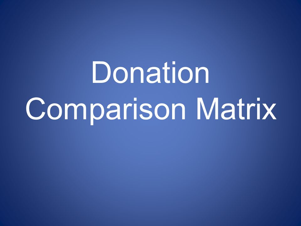 Donation Comparison Matrix