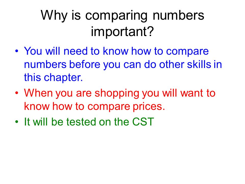 Why is comparing numbers important.
