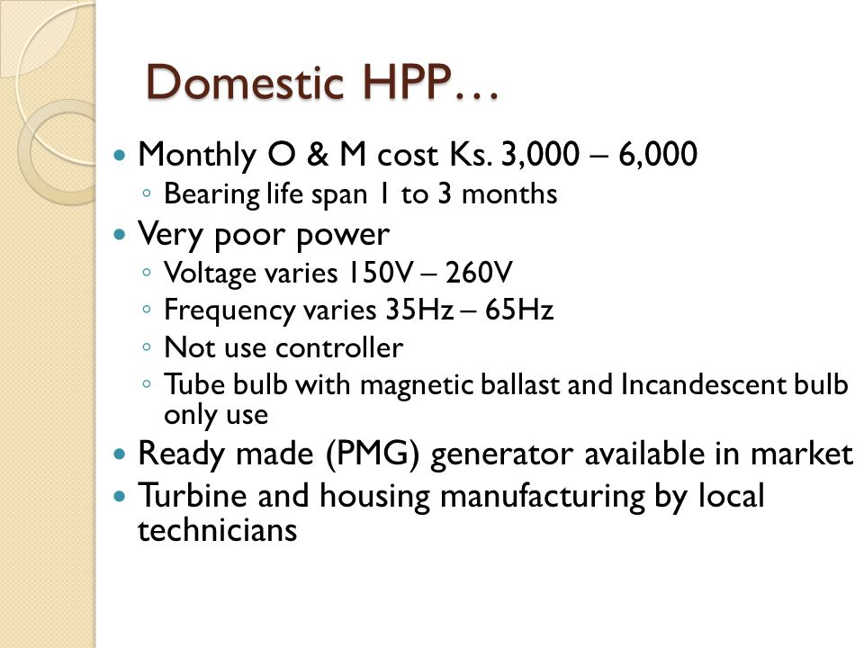 Domestic HPP… Monthly O & M cost Ks.