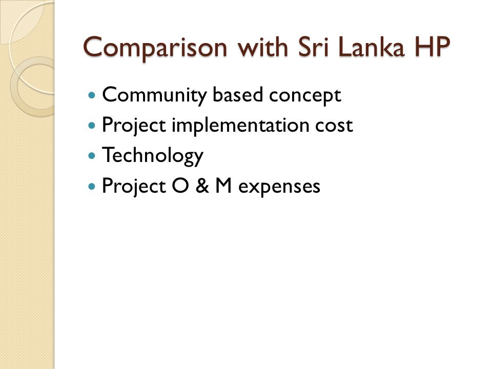 Comparison with Sri Lanka HP Community based concept Project implementation cost Technology Project O & M expenses