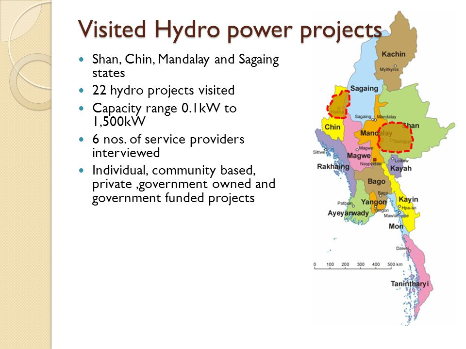 Visited Hydro power projects Shan, Chin, Mandalay and Sagaing states 22 hydro projects visited Capacity range 0.1kW to 1,500kW 6 nos.