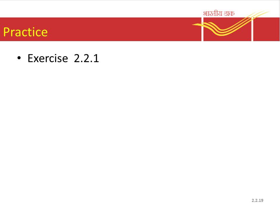 Practice Exercise 2.2.1 2.2.19