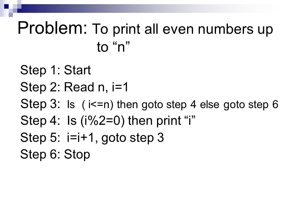 Flowchart examples –loops Problem1: To print first n Numbers Problem2: To print sum of first n Numbers Problem3: To print all even numbers up to n Study all the above Problems Well.