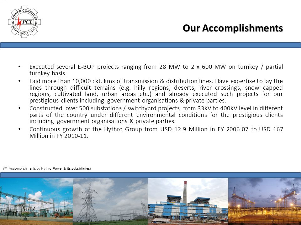 Our Accomplishments Executed several E-BOP projects ranging from 28 MW to 2 x 600 MW on turnkey / partial turnkey basis. Laid more than 10,000 ckt. km