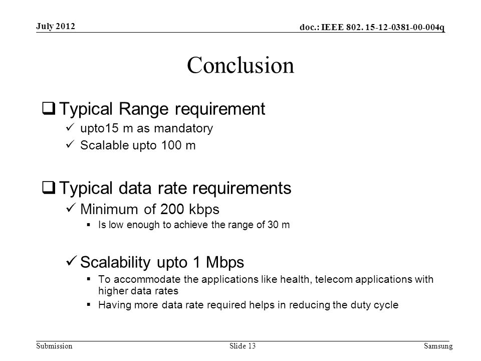 doc.: IEEE 802. 15-12-0381-00-004q Submission Conclusion  Typical Range requirement upto15 m as mandatory Scalable upto 100 m  Typical data rate req
