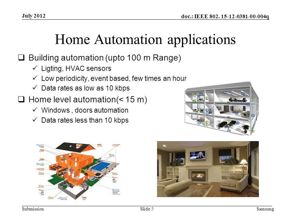doc.: IEEE 802. 15-12-0381-00-004q Submission Home Automation applications  Building automation (upto 100 m Range) Ligting, HVAC sensors Low periodic