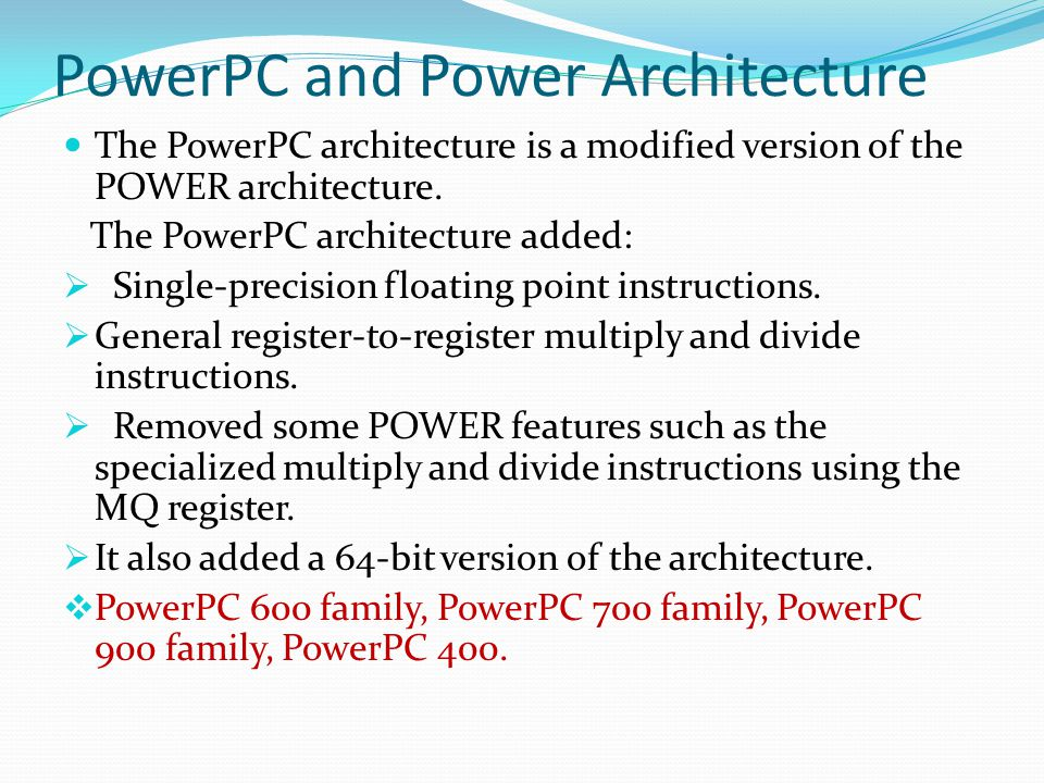 Current Status PowerPC e200 - 32 bit power architecture microprocessor - speed ranging up to 600 MHz - ideal for embedded applications.